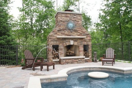 Grand Rapids Pool, Outdoor Fireplace, Outdoor Kitchen And Patio   Signature  Outdoor Concepts